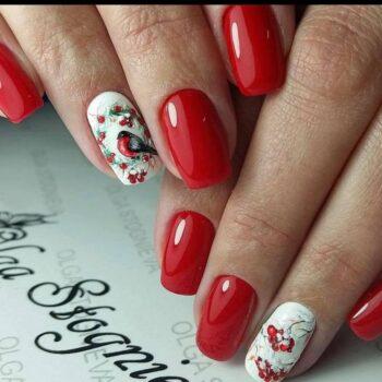 червени нокти с птиче