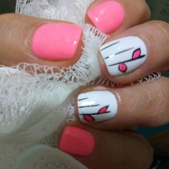 маникюр за къси нокти розов с бяло