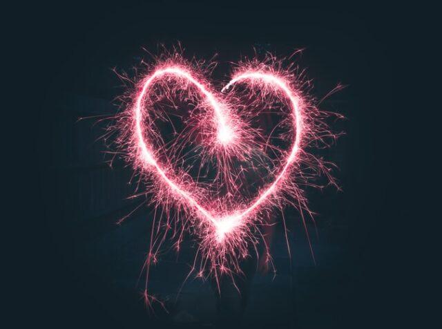 заря във формата на сърце